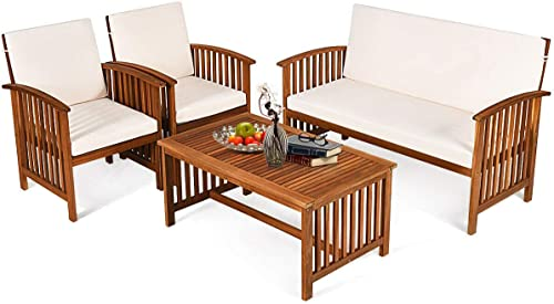 Tangkula Outdoor 4 Pcs Acacia Wood Sofa Set w/Water Resistant Cushion
