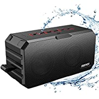 Bluetooth Speakers, Portable Wireless Bluetooth Speakers with Waterproof IP65, Built-in Mic, Dual-Driver, 66-Foot Bluetooth Range Computer Speaker with Enhanced Bass(Black-red)