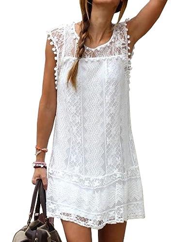 Voinnia® Women's O Neck Crochet Hollow Lace Mini T-shirt Dress