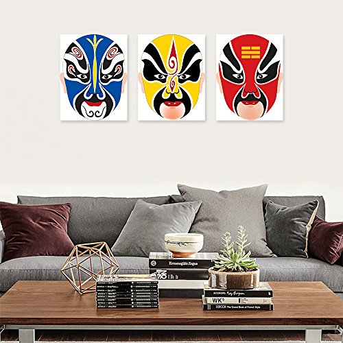 DecalMile Peking Opera Facial Mask Oil Painting Prints Painting On Canvas Chinese Traditional Culture Illustration Art Wall Decoration Stretched And Framed Ready To Hang 30 X 40cm (3 Pieces) (Chinese Opera Mask)