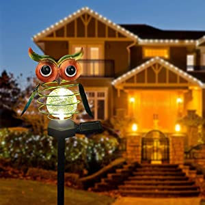 Garden Solar Light, Waterproof LED Owl Decorative Lights, Garden Decorations Stake Light Solar Lighting Gift for Outdoor Walkway, Patio, Pathway, Yard, Lawn