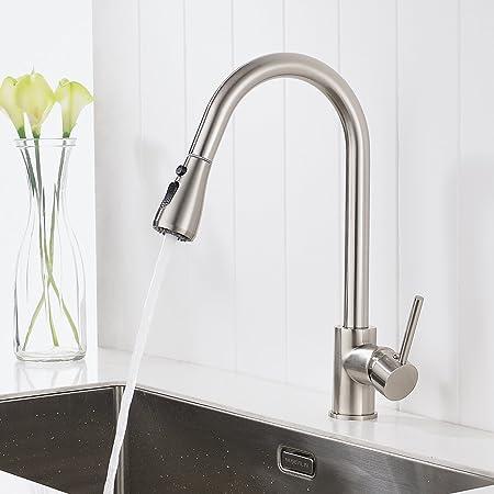 Timaco Wasserhahn Küche Gebürsteter Nickel Küchenarmatur mit Brause ...