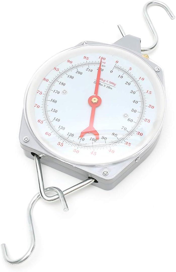 KUNSE 100Kg/220Lbs Clockface Báscula Colgante Pesaje Carnicería con Gancho
