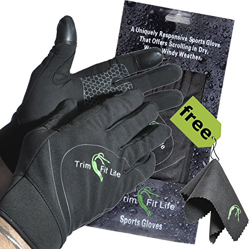 SportyGlove-Top Rated Windproof Breathable Water Resistant Running Gloves for Women and Men. Perfect for All Sports Outdoors & Best Touch Screen Feeling When Texting on Smartphone or Tablets