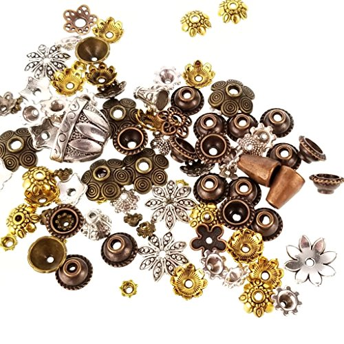 Wholesale Bead Caps - Pewter Assorted Bulk Mixed Size Color Bead Caps & Cones, Tassel Cord Ends for Jewelry Making