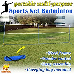 Strong Camel Volleyball Badminton Tennis Net Portable Training Beach with carrying bag STAND (Size L16.8\' x W3.3\' x H5\')