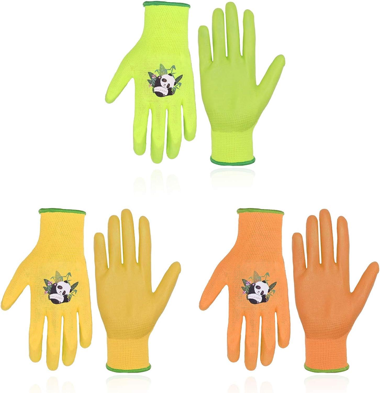 3 Pairs Kids Gardening Gloves for Yard Work ,Children Gardening Gloves Nitrile Coated for Age 2-13 Toddler, Girls, Boys Youth