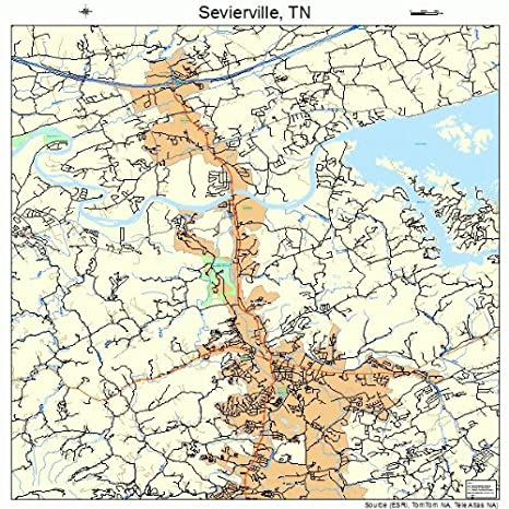 Amazon.com: Image Trader Large Street & Road Map of Sevierville ...