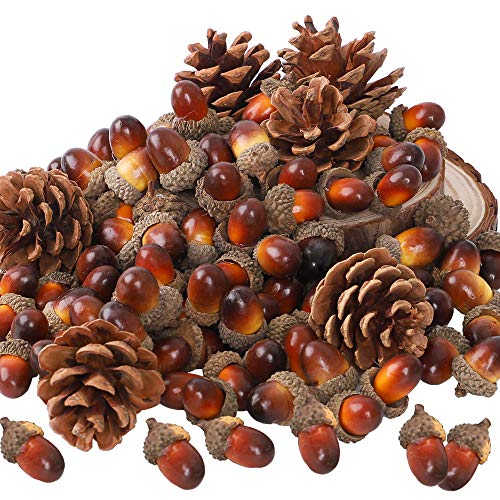CEWOR 110pcs Artificial Acorns and Pinecones Ornament Set for Crafting, Wedding, House, Autumn Party Hanging Decor