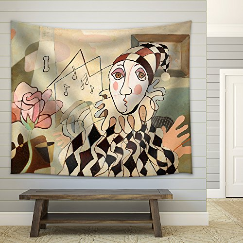 wall26 - Abstract Oil Painting of Harlequin and Rose - Fabric Wall Tapestry Home Decor - 51x60 inches