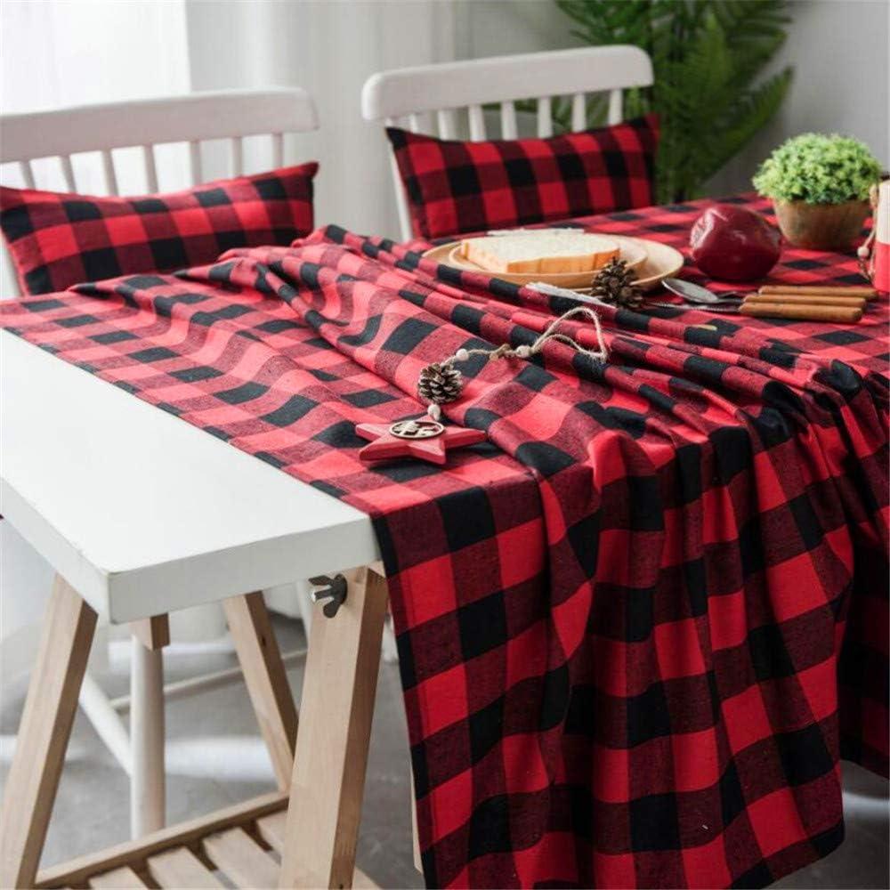 SONGHJ Tela de Mesa de Tela Escocesa de algodón Rojo Negro Blanco Rejilla Mantel Picnic Fiesta de cumpleaños Decoración del hogar A 90x90cm: Amazon.es: Hogar