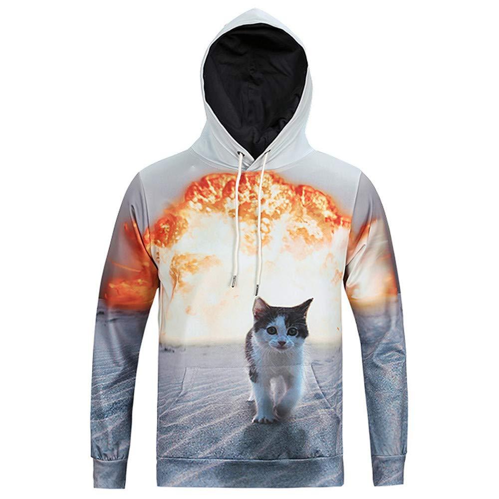 Men's Autumn Winter Exploding Cat Printing Long Sleeve Sweatershirt Top Blouse PASATO New Hot!(Gray, L)