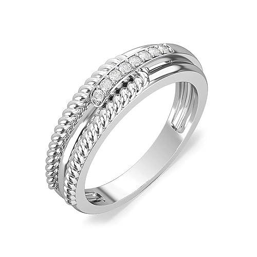 0,10 ct redonda natural diamond anillos de boda para hombre 14 K oro blanco