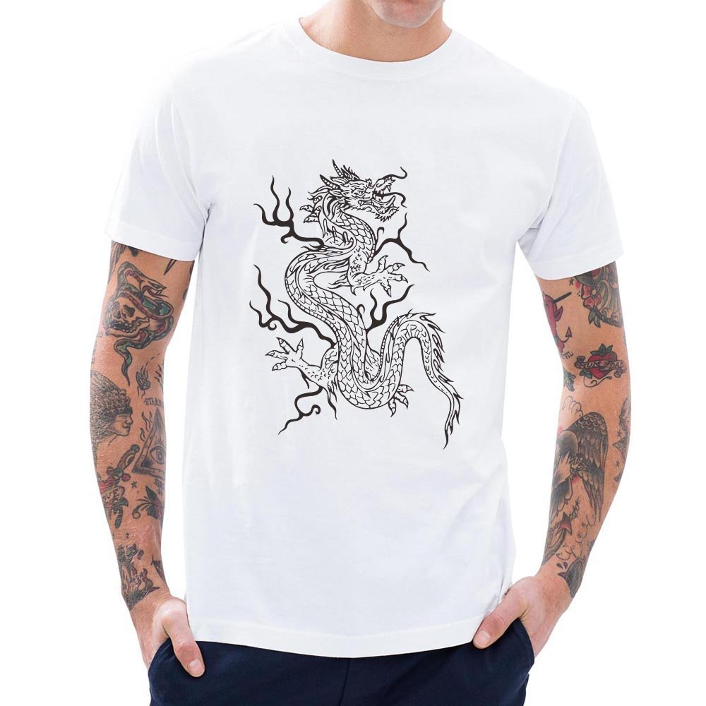 Loo Show Dragon Pattern Short Sleeve T Shirts Funny Awesome Tee