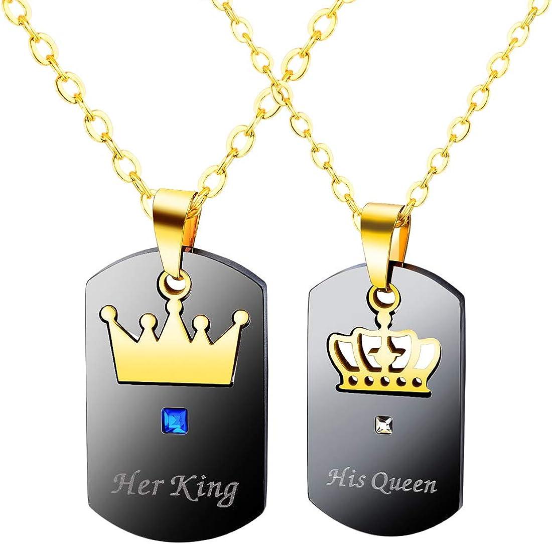 Milacolato 6 Pcs Couples Colliers Bracelets Ensemble pour Lui et Elle King Queen Couple Ensemble de Bijoux Couronne Cadeaux pour Amant