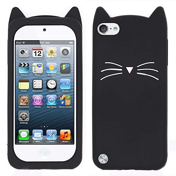 best cheap 8617b 84ca6 for iPod Touch 6 Case, iPod Touch 5 Case, 3D Cute Cartoon Mustache Cat  Case, Animal Series Soft Silicone Bumper Shockproof Back Cover Shell for  iPod ...