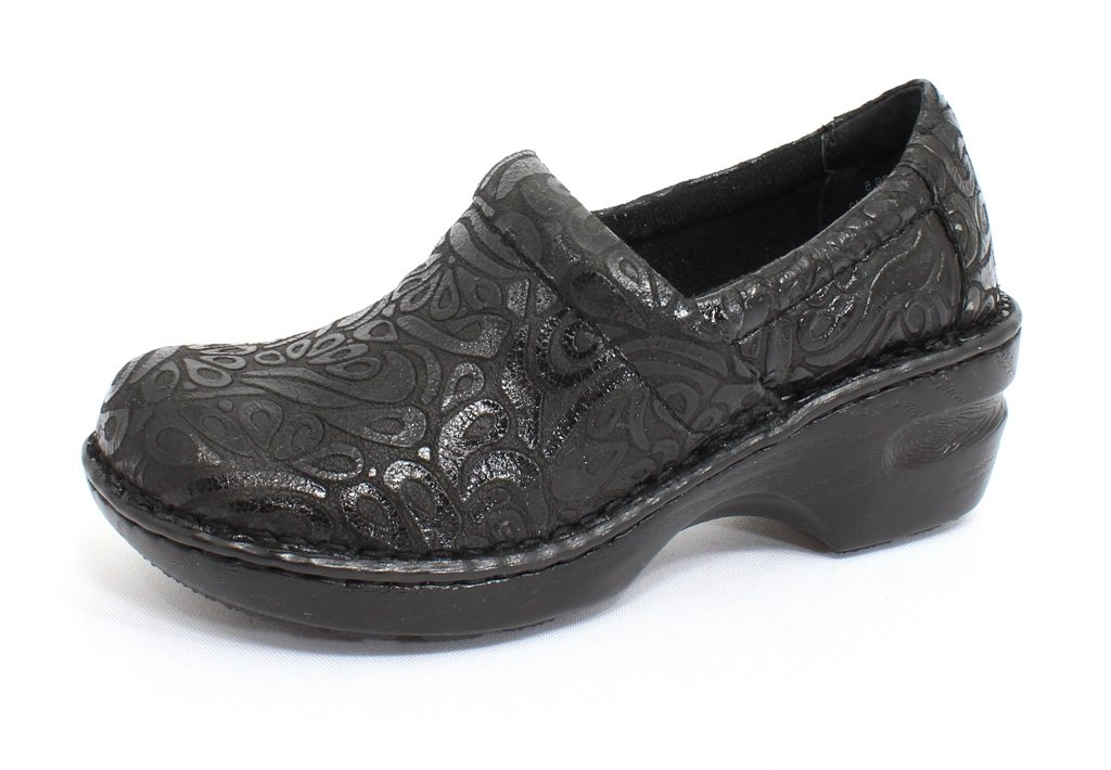 B.O.C. Women's, Peggy Slip-On Faux Leather Comfort Shoes Black Tooled 8 W