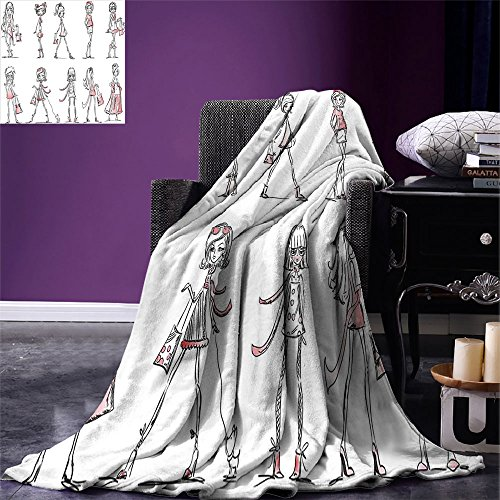 smallbeefly Girls Throw Blanket Cartoon Girls with High Heel Shoes Glamour Fashion Urban Life Catwalk Style Picture Warm Microfiber All Season Blanket for Bed or Couch Pink White