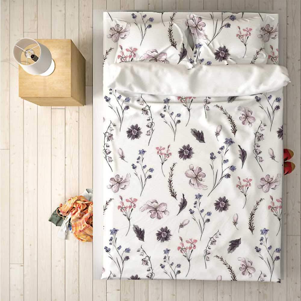 Flower Soft 4 Piece Bedding Set,Natural Springtime Lavender Orchids Bluebonnets and Wildflowers Cottage Theme for Bedroom,One Side Print : Singe