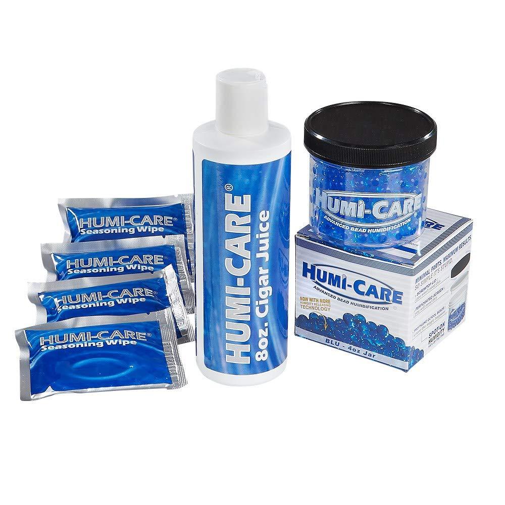 HUMI-CARE Humidification Bundle of 1 16 oz. Bottle Cigar Juice, 4 Seasoning Wipes, 1 Bead Gel Jar