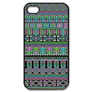 Customized AXL377847 Hard Back Plastic Cover Case For Iphone 4,4S Phone Case w/ Aztec Pattern