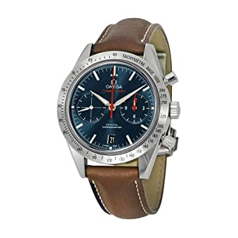 69db966b5e61 Image Unavailable. Image not available for. Color  Omega Speedmaster  Automatic Blue Dial Brown Leather ...