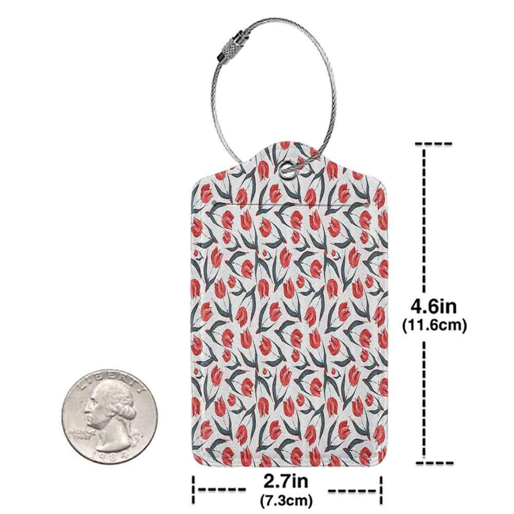 Waterproof luggage tag Flower Decorations Original Vintage Inspired Irregular Dutch Tulips and Leaf Ornate Boho Retro Artprint Soft to the touch Red Green W2.7 x L4.6