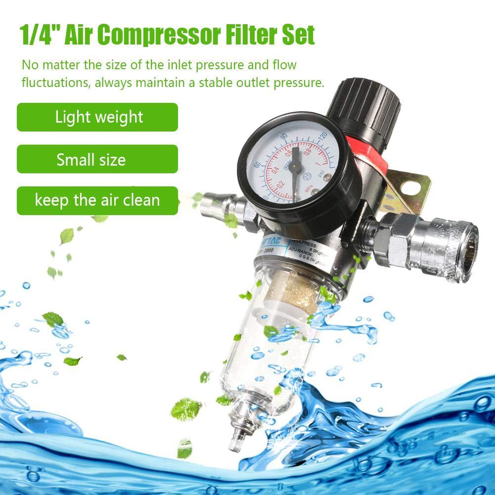 S/éparateur deau /à air comprim/é R/éducteur de Pression lembrd Filtre r/égulateur pour air comprim/é 1//4 Compresseur dairbrush de Filtre Pi/ège
