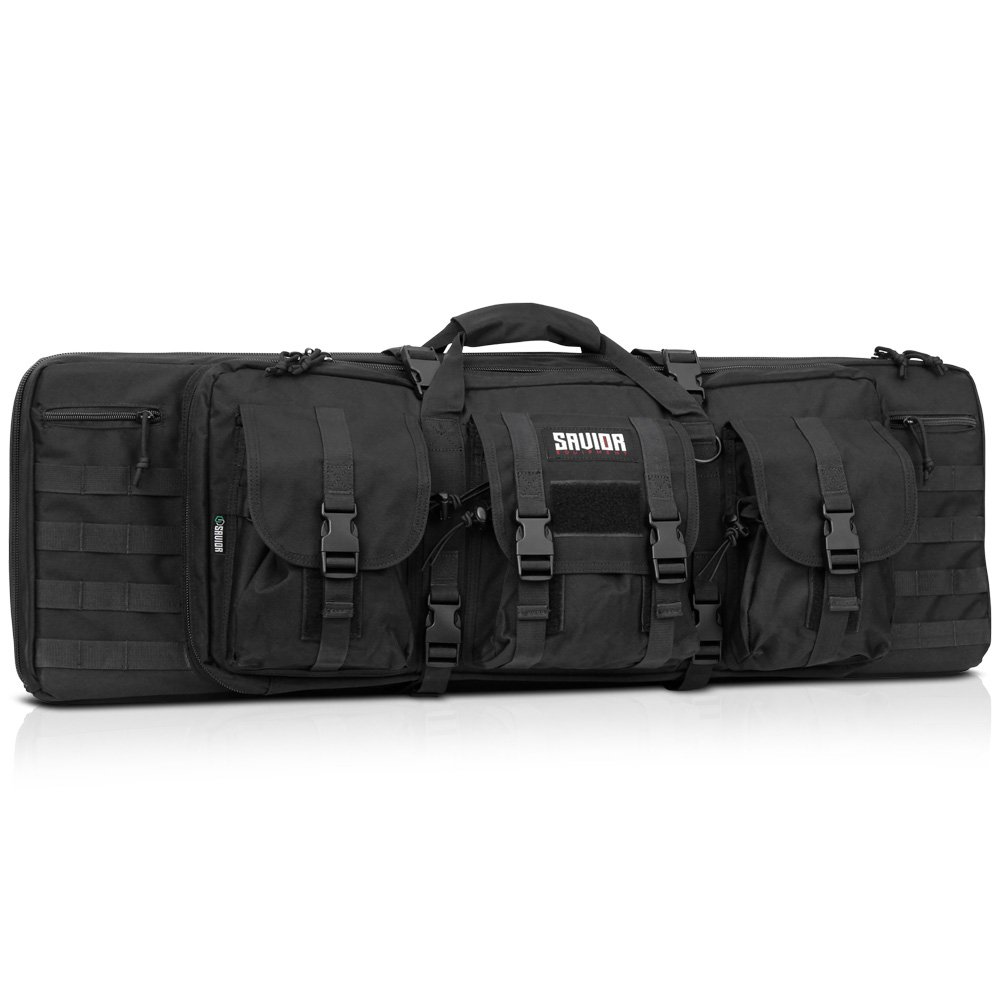 Savior Equipment American Classic Tactical Double Long Rifle Pistol Gun Bag Firearm Transportation Case w/Backpack - 36 Inch Obsidian Black by Savior Equipment