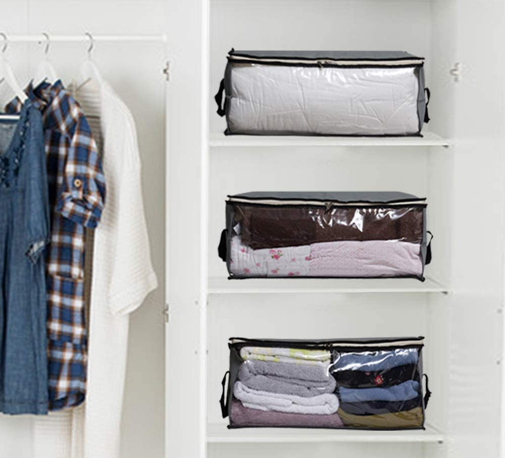SLEEPING LAMB Storage Bag Organizers 3 Piece Set Sweater Closet Pillows Grey Blanket Clothing Storage Containers for Clothes Bedding in Bedroom
