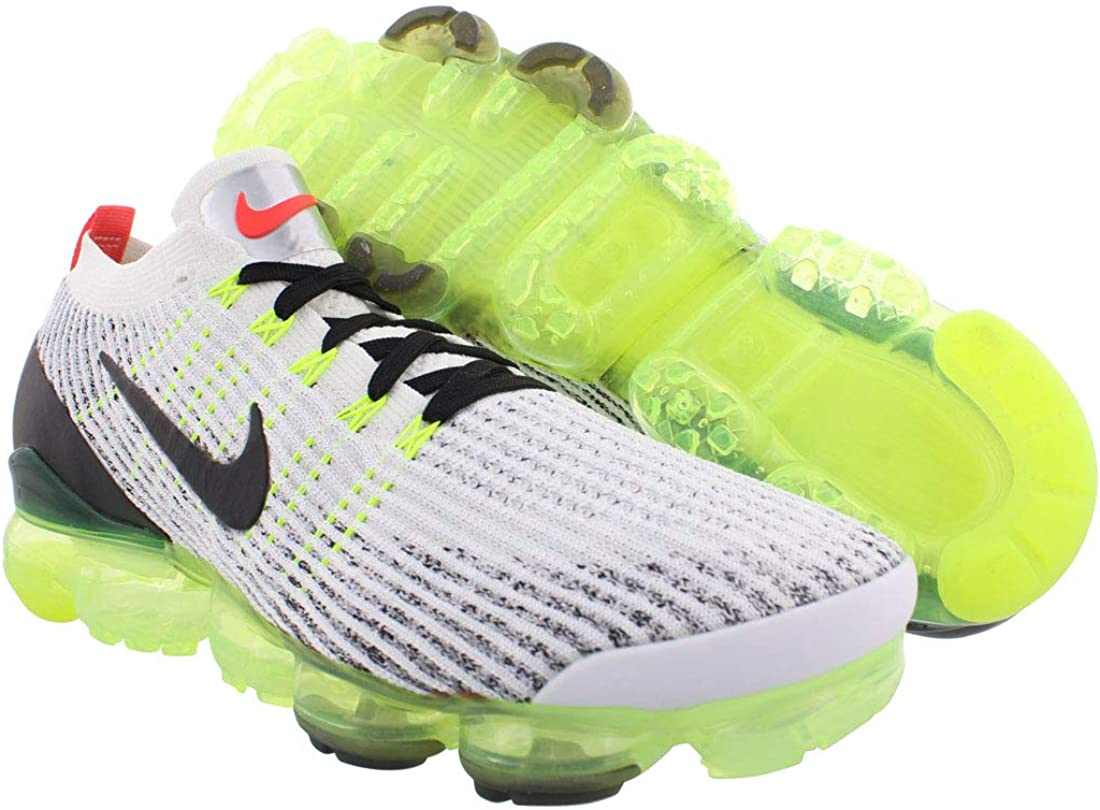 Nike Men's Air Vapormax Flyknit 3 Running Shoes White/Black-volt