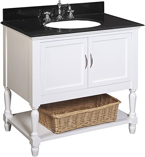 Beverly 36-inch Bathroom Vanity Black White Includes a White Cabinet, a Granite Countertop, and a Ceramic Sink