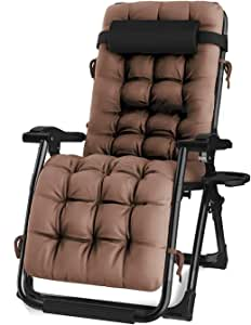 "Oversized Zero Gravity Chair, Lawn Recliner, Reclining Patio Lounger Chair, Folding Portable Chaise, with Detachable Soft Cushion, Cup Holder, Adjustable Headrest, Support 500 lbs. (24"" Wide)"