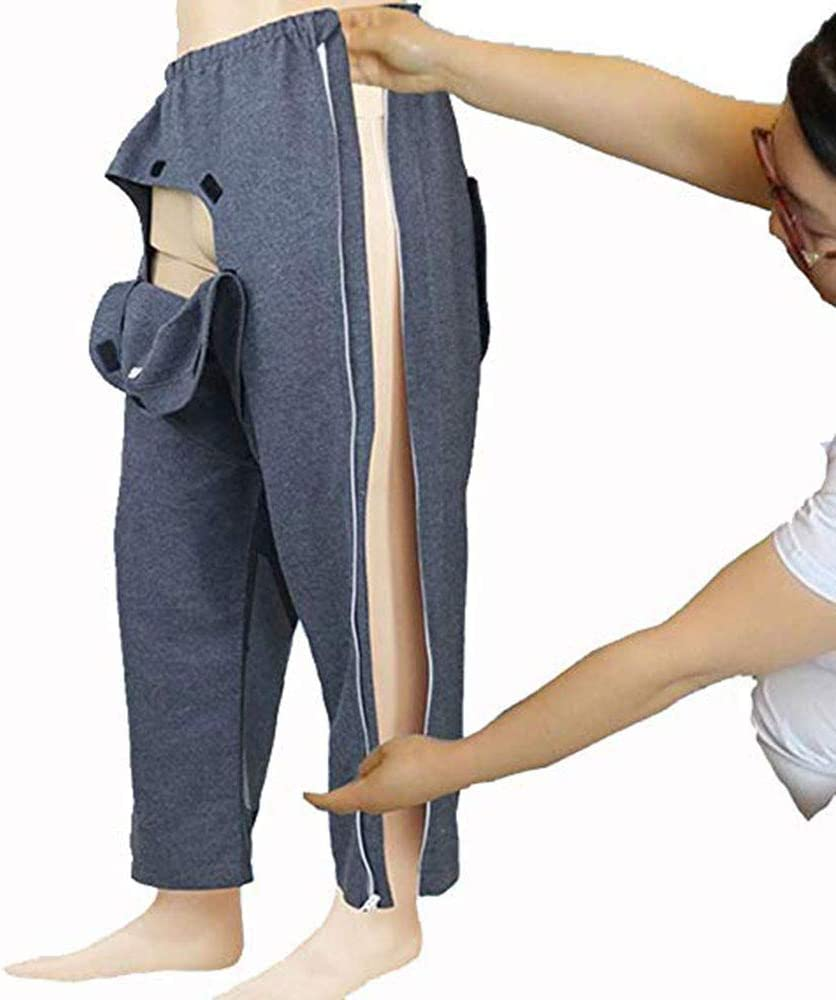 BIHIKI Patient Pants Clothing for Disability Elderly Surgery Patients,Easy to Wear Off,Hospital/Home Care Nursing Aid,Suit for Fracture, Incontinence,Bedridden Patients/Elderly (XL)