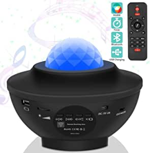 Laser Star Projector,LED Night Light Projector with Nebula Cloud,3 in 1 Sky Ocean Wave Projection with Bluetooth Speaker Voice Control for Birthday Party Home Theatre Baby Kids Bedroom