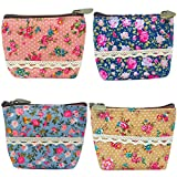 Oyachic 4 Packs Portable Coin Pouch Waterproof Purse Zip Wallet Card Case Key Bag Christmas Birthday Gift 4.3' L X 3.9'H X 1.6'' W (4 pack flower pattern)