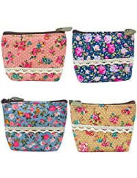 Oyachic 4 Packs Coin Purse Small Change Pouch Change Zip Mini Wallet Card Case Key Bag Christmas Birthday Gift (4 Pack Flower Pattern)