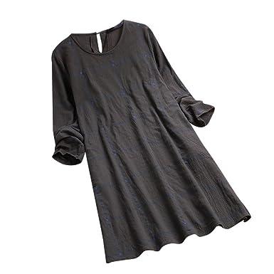 BCDshop Womens O-Neck Casual Loose Plaid Long Sleeve Retro Tunic Shirt Dress Soft (