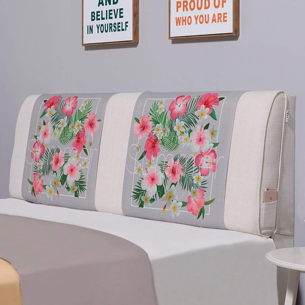 QIANGYU Bettrückenpolster Baumwolle und Leinen Keilrückenstütze Abnehmbar für Bett ohne Kopfteil Schlafsofa Weichwaschbar Mehrfarbig Optional (Color : A, Size : No headboard-180cm)