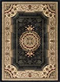 Jayden Traditional Oriental Black Rectangle Area Rug, 5′ x 7′ For Sale