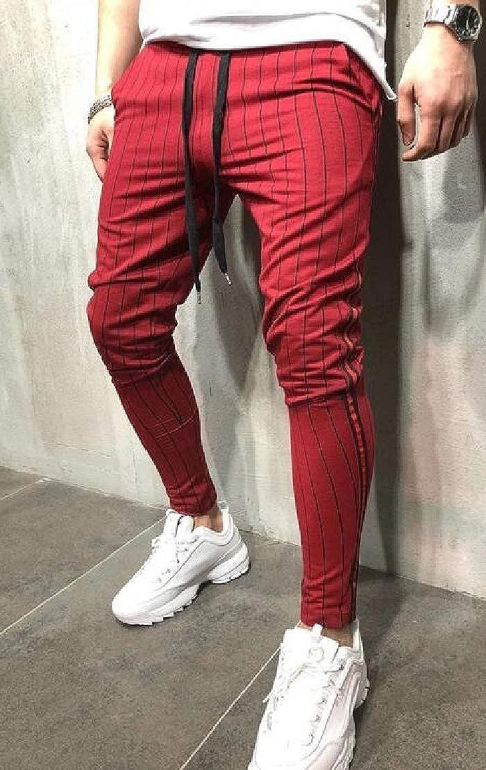 UUYUK Men Classic Striped Elastic Waist Drawstring Sports Long Pants