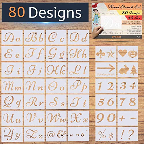 Halloween Sign Stencils (New! - 80 Designs - Letter Stencils for Painting on Wood - Alphabet with Calligraphy Font Upper and Lowercase Letters - Reusable Holiday Plastic Art Craft Stencils with Numbers and)