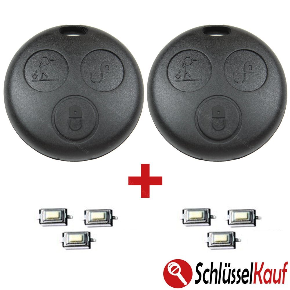 Smart 2x key housing radio remote control housing replacement for Fortwo MC01 450 + 6x micro button car key push button KONIKON