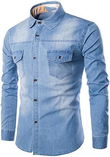 LANMWORN Hombres Manga Larga Doble Bolsillo Casual Blusa Comprobar Camisas De Jeans, Moda BotóN Abajo Negocio Formal Traje Jeans Shirt. (L-6XL): Amazon.es: Ropa y accesorios