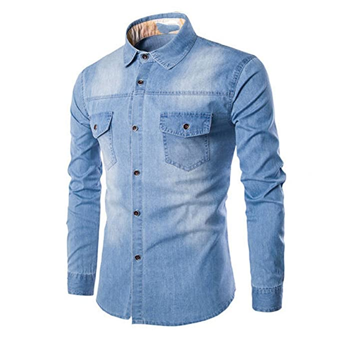 LANMWORN Hombres Manga Larga Doble Bolsillo Casual Blusa Comprobar Camisas De Jeans, Moda BotóN Abajo
