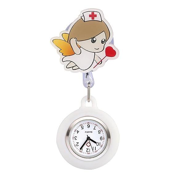 manifo Enfermera Reloj Pulso Reloj Nurse Watch Bata Reloj silicona dibujos animados niña Ángel Reloj de bolsillo Hermana Reloj Blanco # 3: Amazon.es: ...