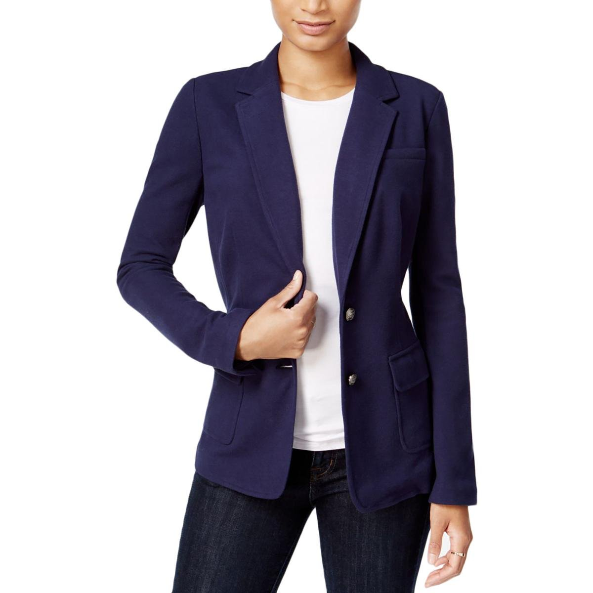 Maison Jules Womens Long Sleeves Collared Two-Button Blazer Navy M