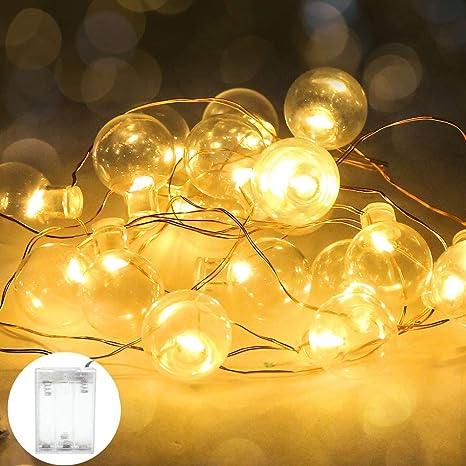 LED Lichterkette Kugel Schnur Batteriebetrieb Beleuchtung Warm Weiß