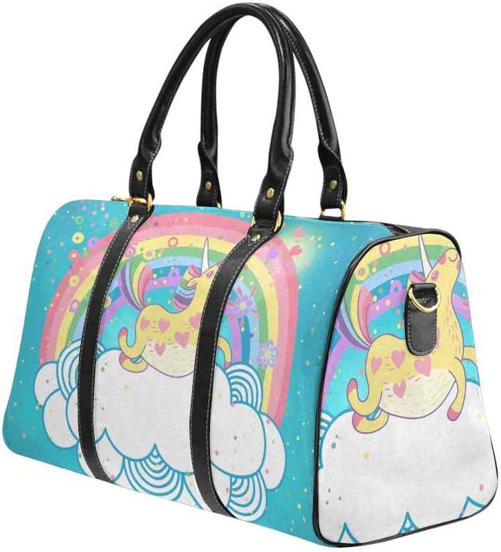 InterestPrint Ute Unicorn Rainbow Large Duffel Bag Flight Bag Gym Bag