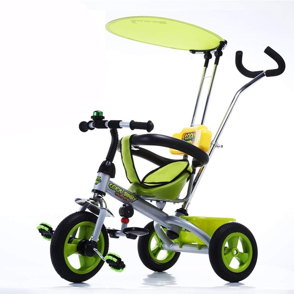 WLD Bicicleta para niños , Cochecitos Cochecito de bebé Dispositivo de protección solar con visera Triciclo para niños Bicicleta para niños de 1-3-6 años,Verde